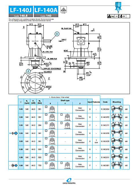 Γκρουπ στελεχοκόπτη COMER LF-140J διαστάσεις