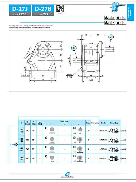 Γκρουπ τουρμπίνας ψεκασμού COMER D-27J διαστάσεις: